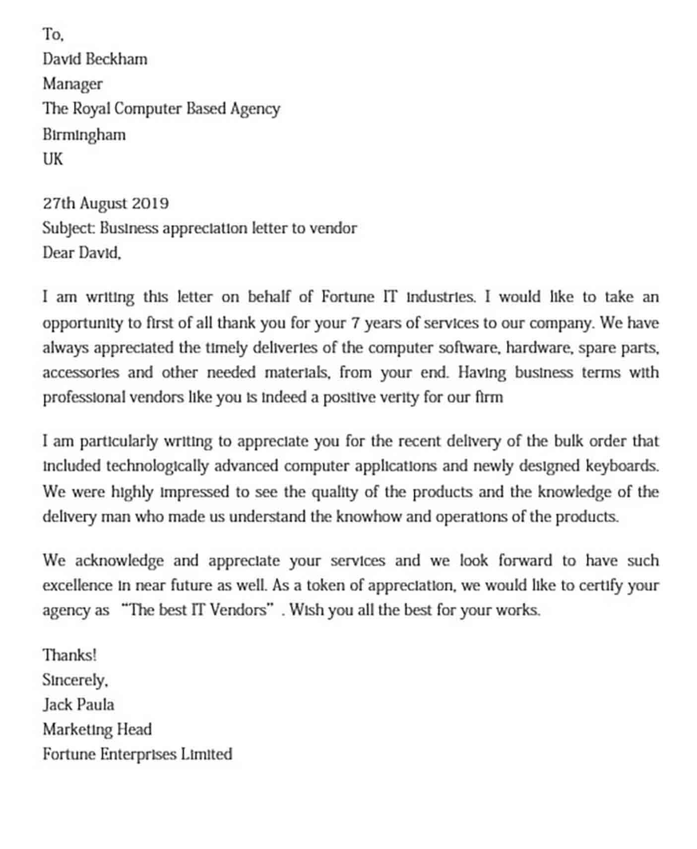 Business Appreciation Letter to Vendor DOC