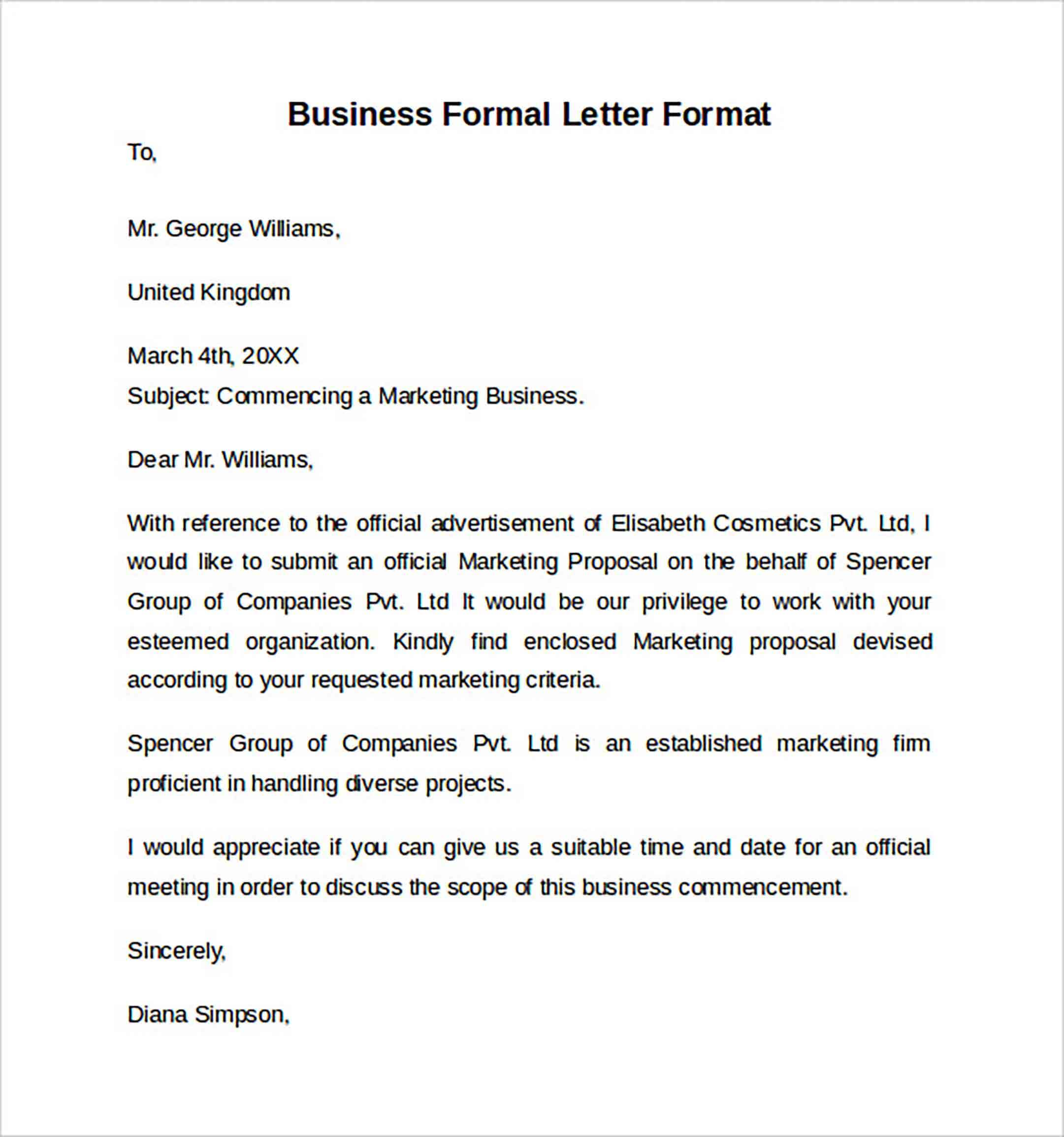 Business Formal Letter Format