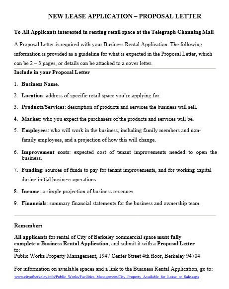 Business Lease Proposal Letter