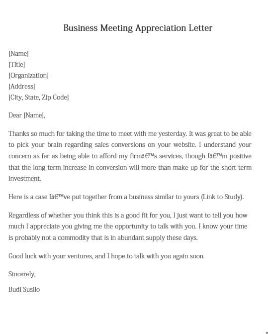 Business Meeting Appreciation Letter