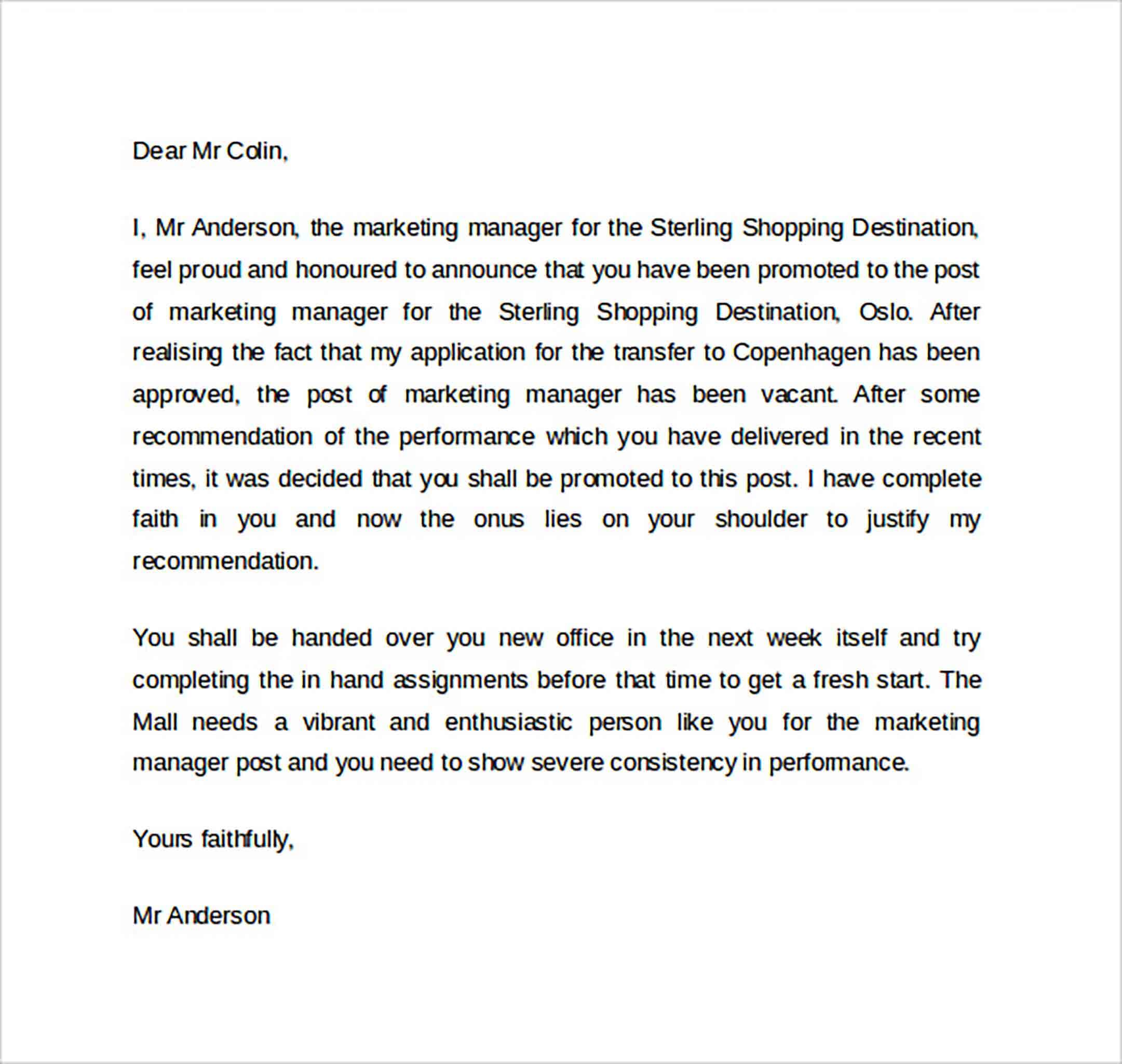 Business Promotion Letter