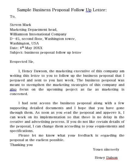 Business Proposal Follow Up Letter