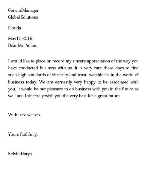 Business Relationship Appreciation Letter