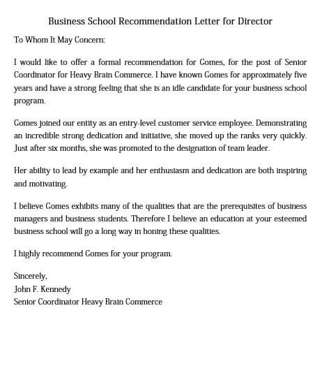 Business School Recommendation Letter for Director
