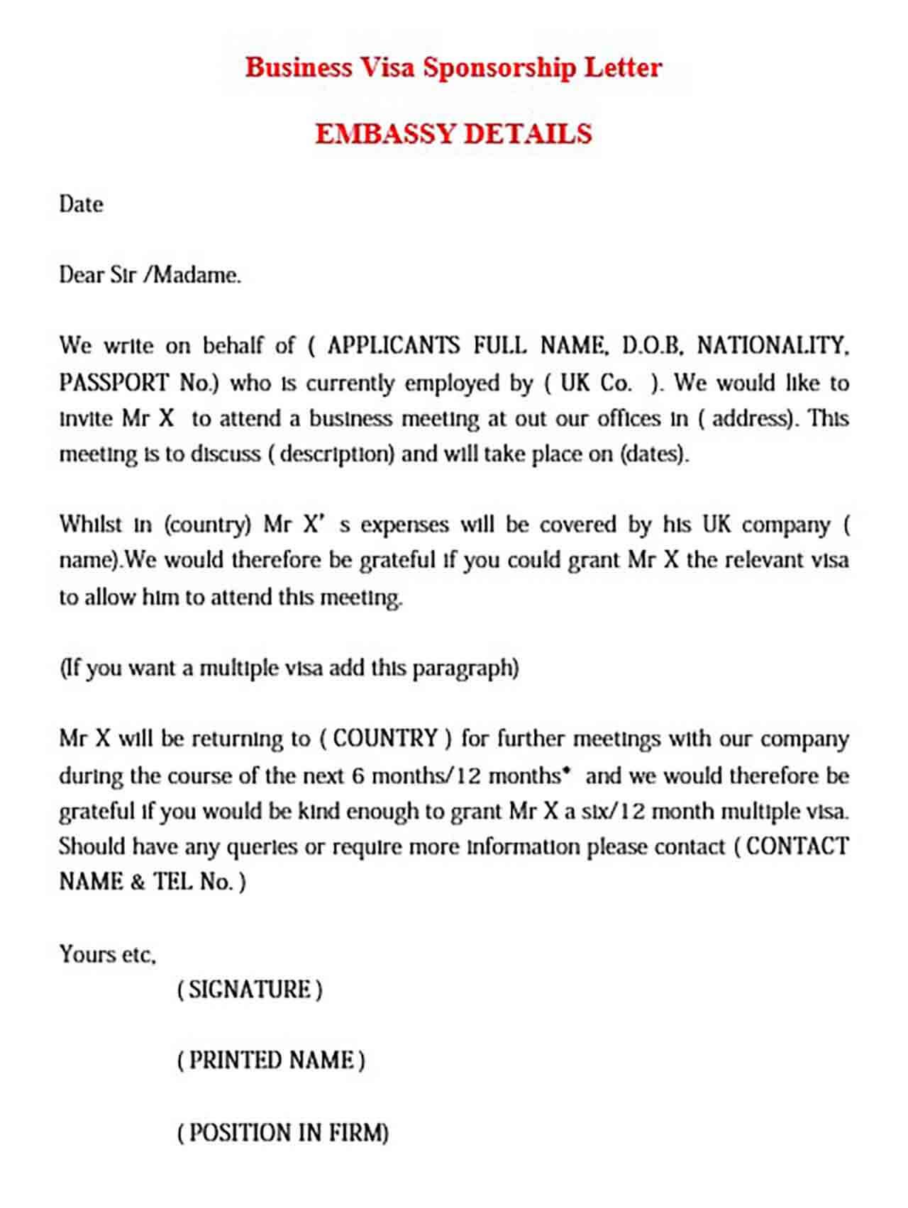 Business Visa Sponsorship Letter