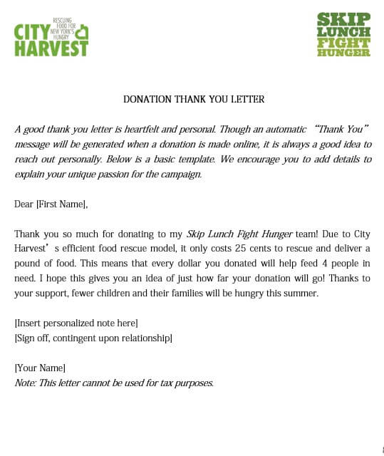 Campaign Donation Thank You Letter