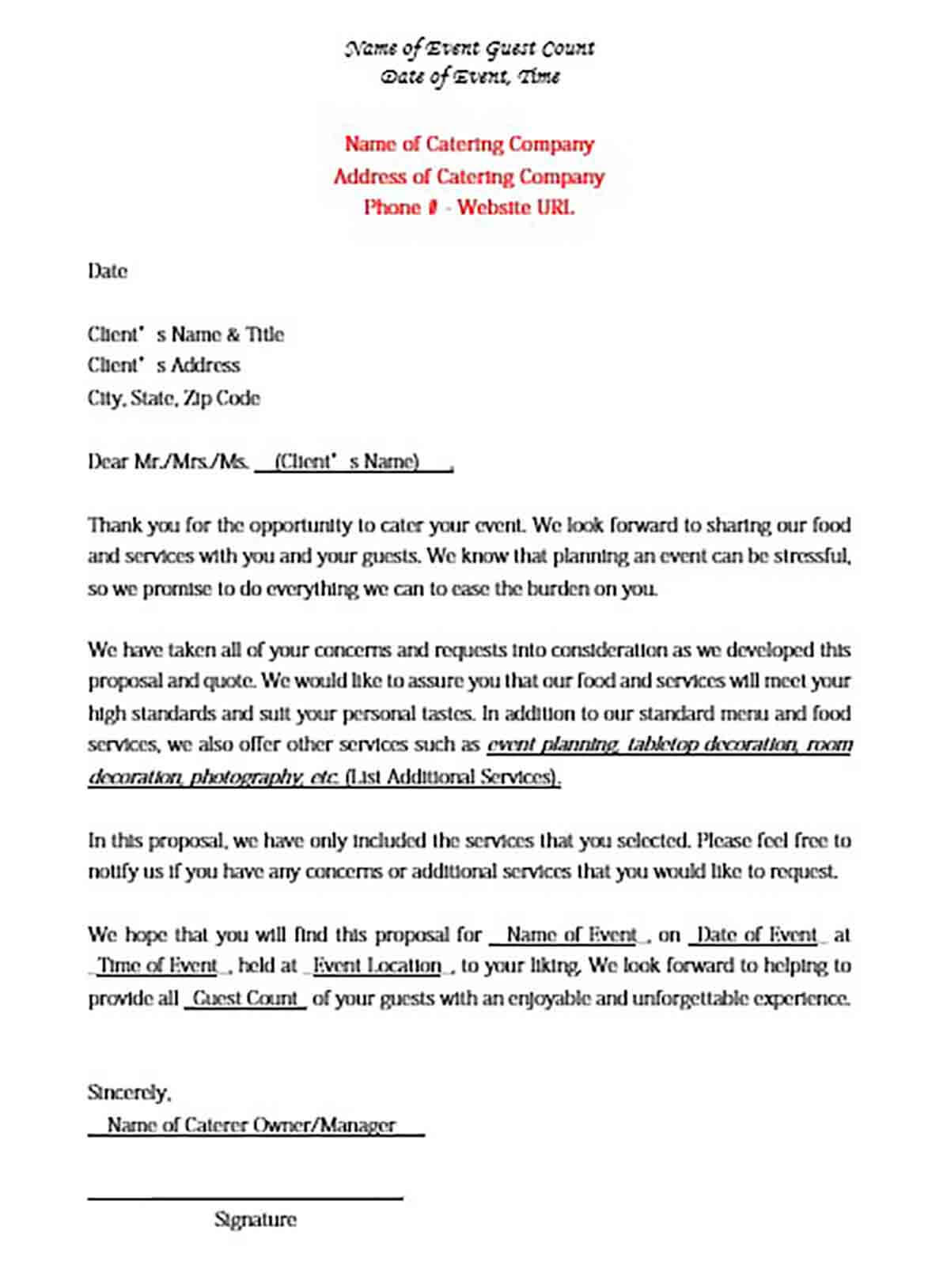 Catering Proposal Letter Format
