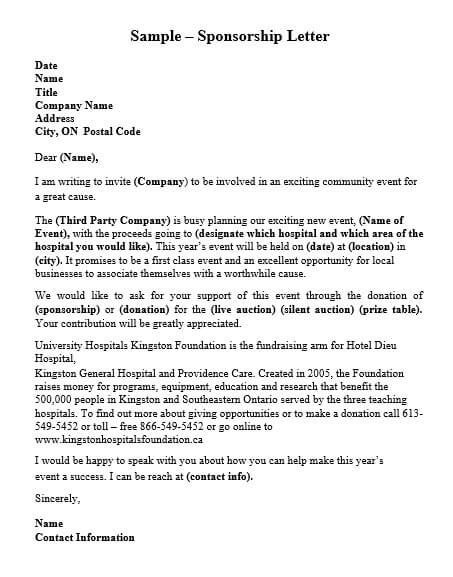 Chairty Event Sponsorship Letter