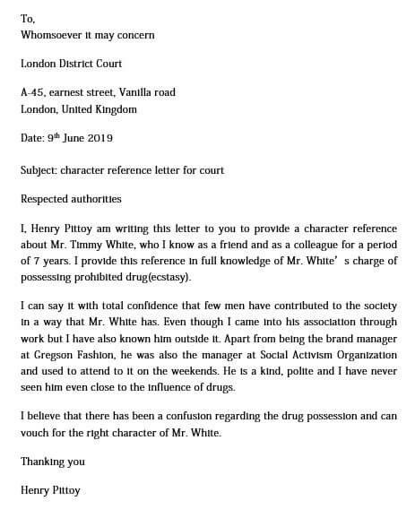 Character Reference Letter for Court Example