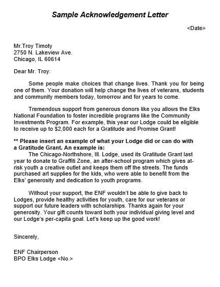 Charity Donation Thank You Letter