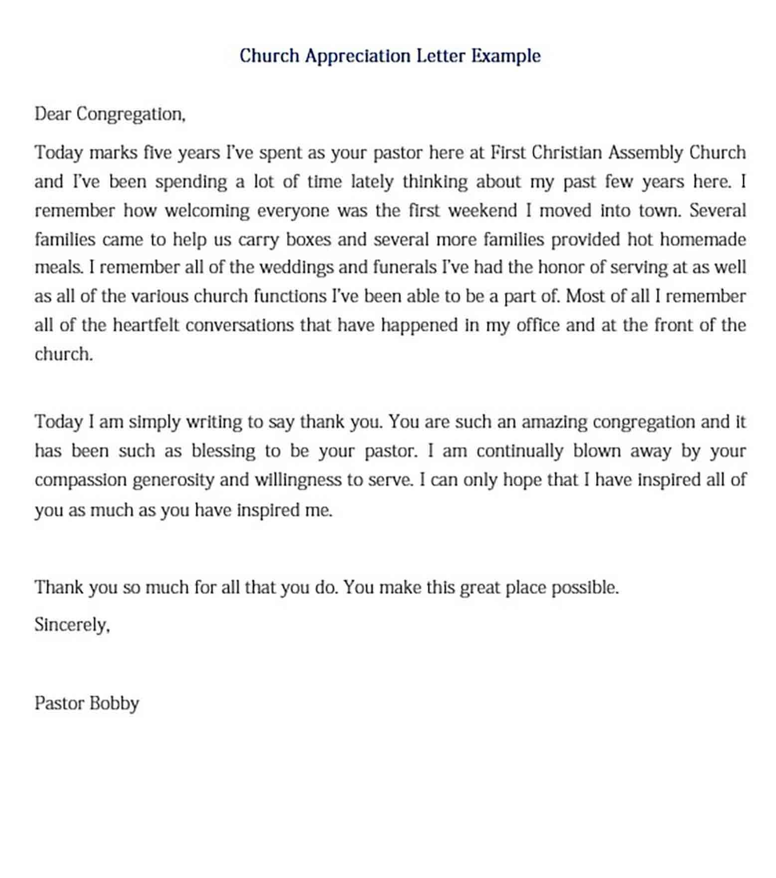 Church Appreciation Letter Example