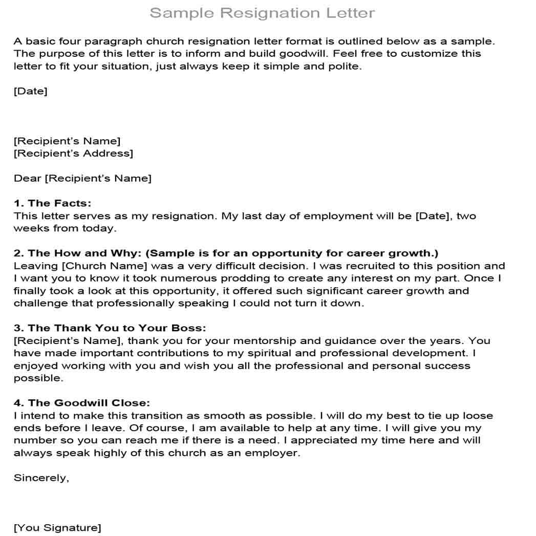 Church Board Resignation Letter Format