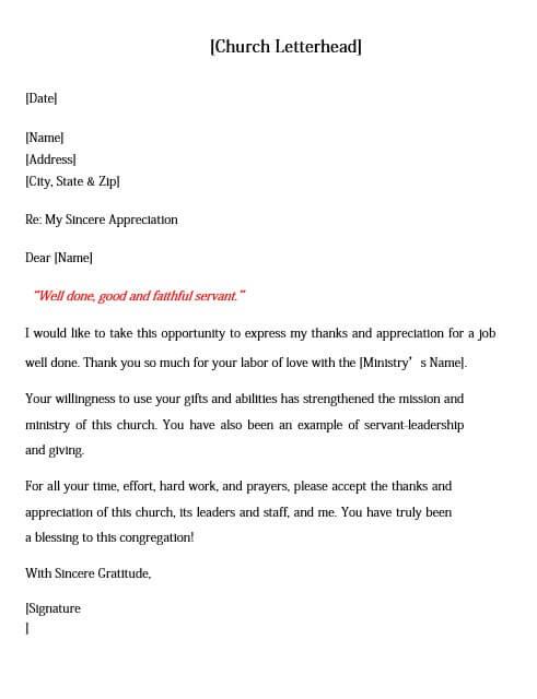 Church Staff Appreciation Letter