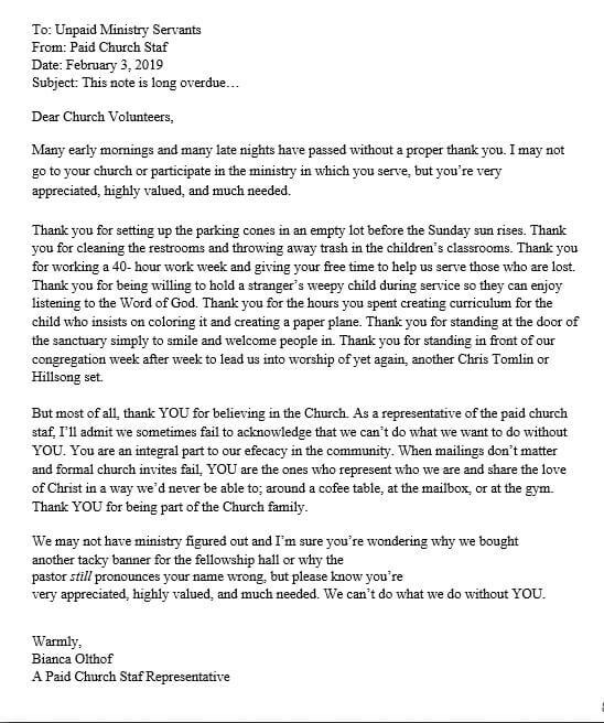 Church Volunteer Appreciation Letter