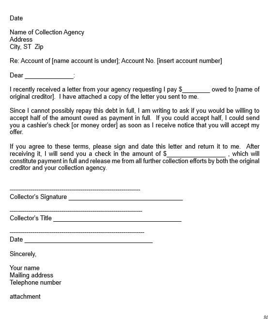Collection Agency Settlement Letter