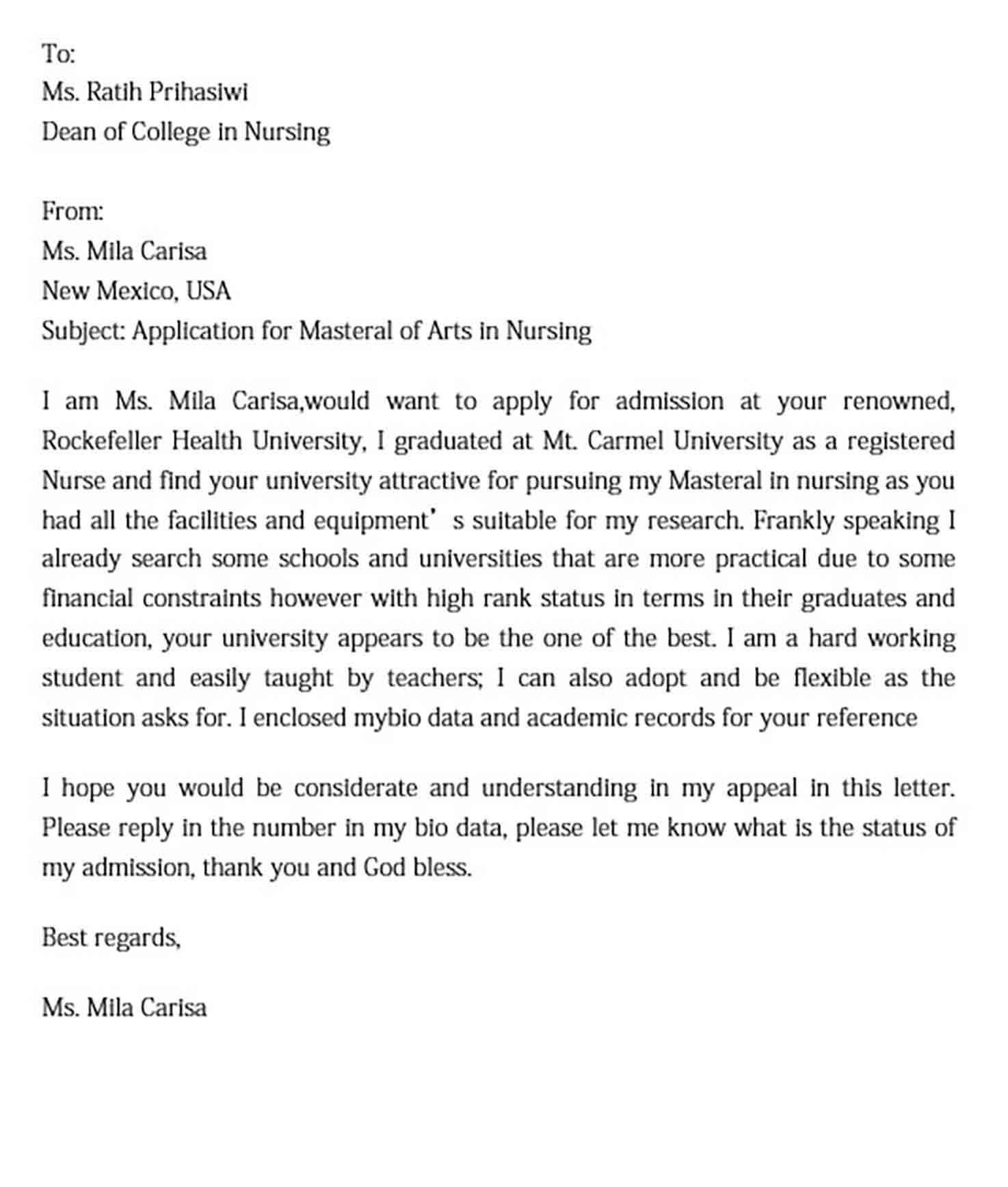 College Application Letter Format
