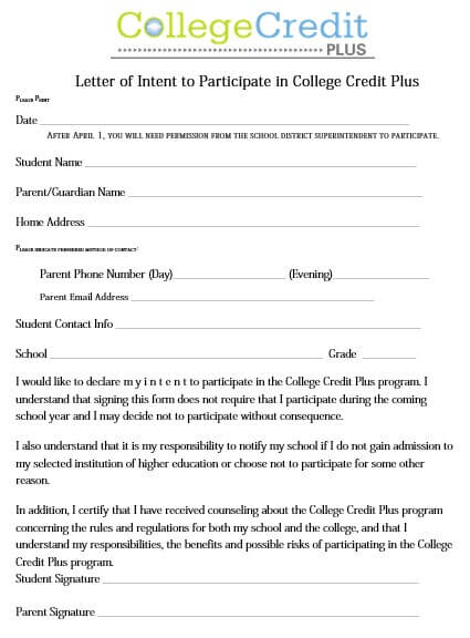 College Letter Of Intent