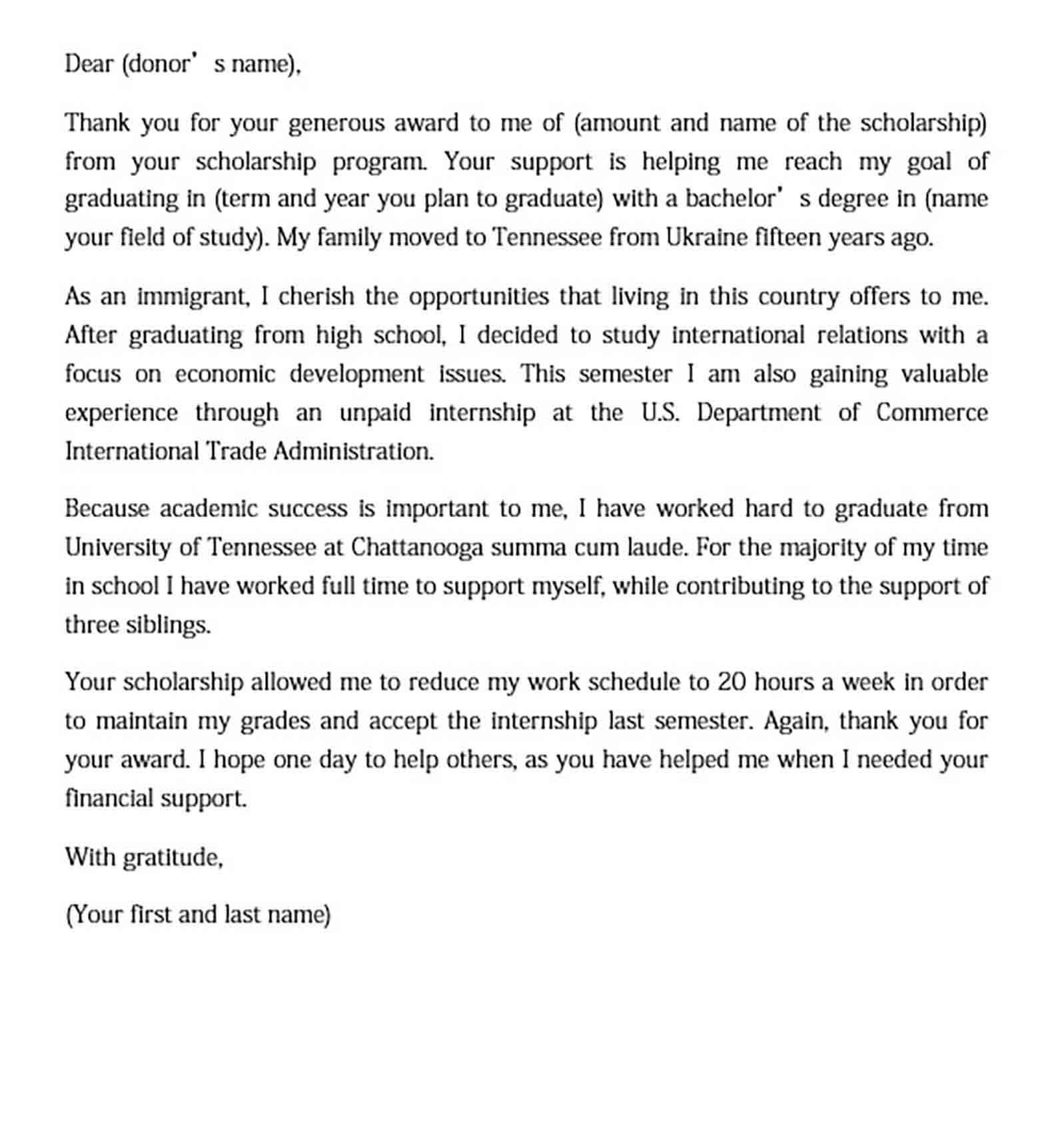 College Scholarship Thank you Letter Sample