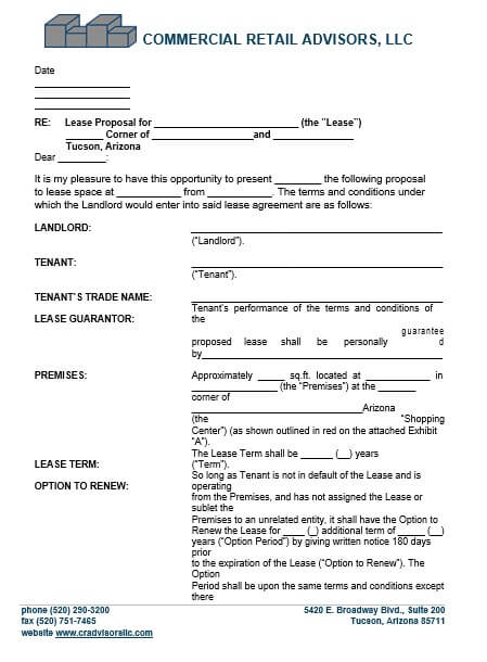 Commercial Lease Proposal Letter