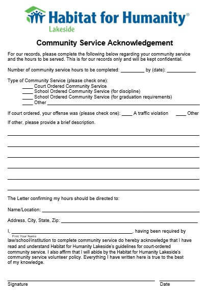 Community Service Acknowledgment Form