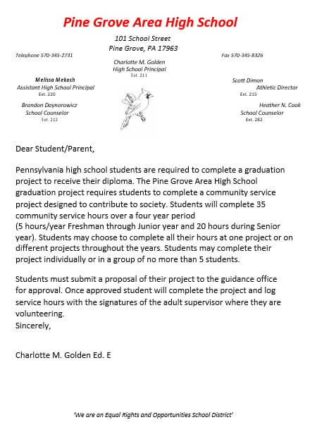 Community Service Project Letter
