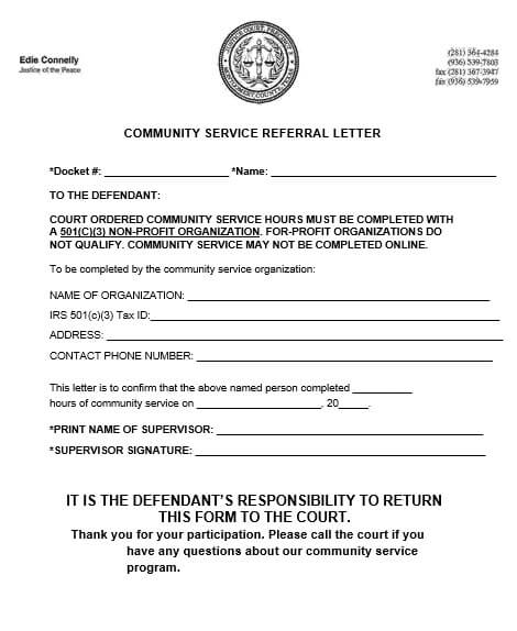 Community Service Referral Letter