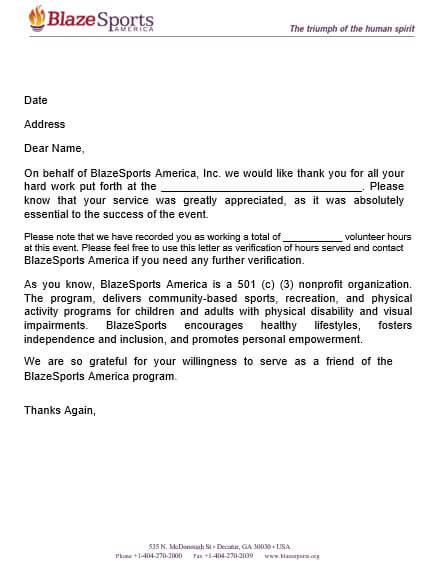 Community Service Volunteer Letter