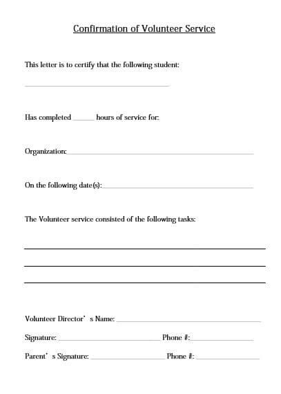 Confirmation of Volunteer Service