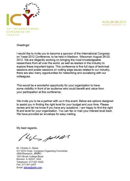 Corporate Event Sponsorship Agreement Letter