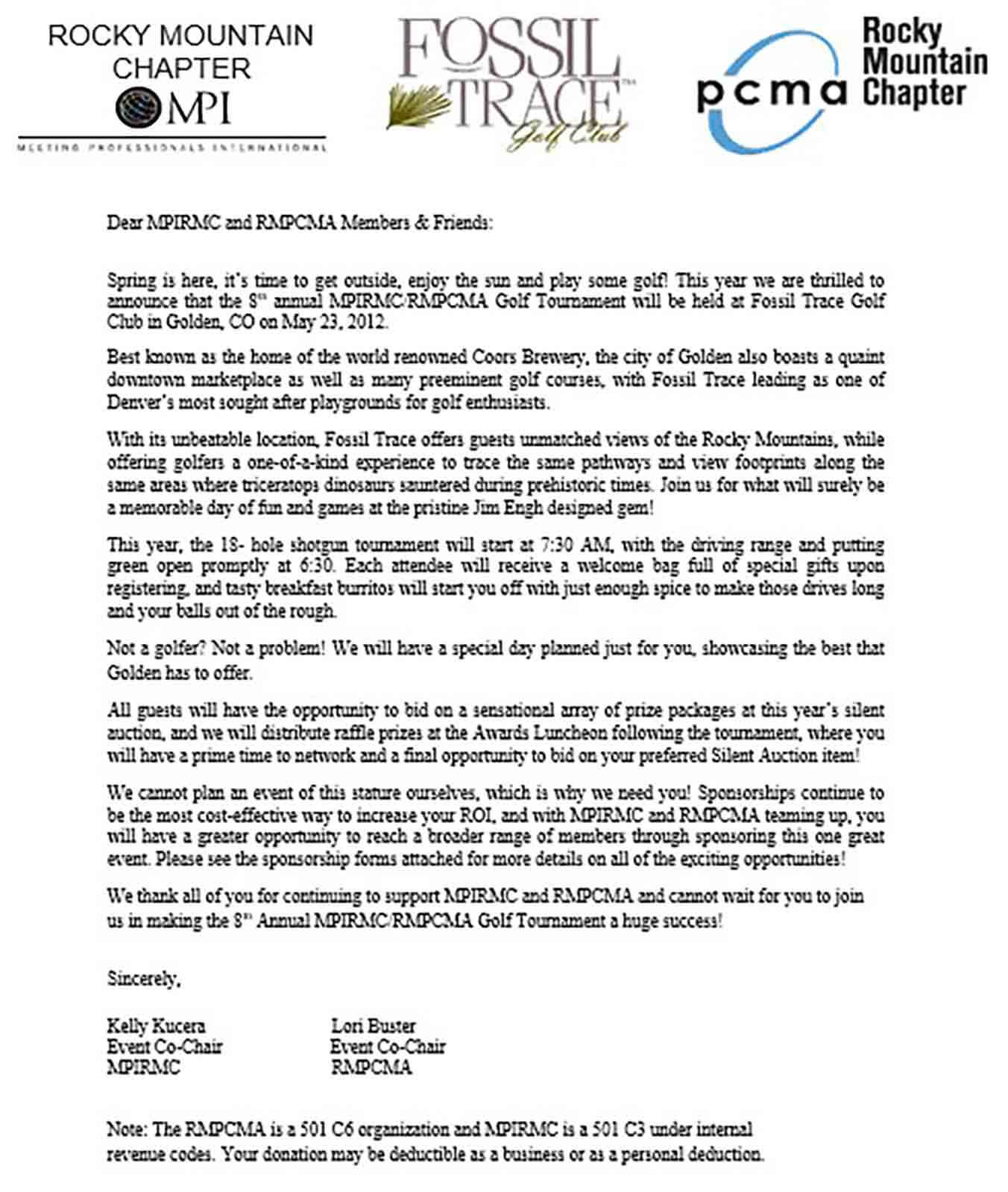 Corporate Golf Sponsorship Letter