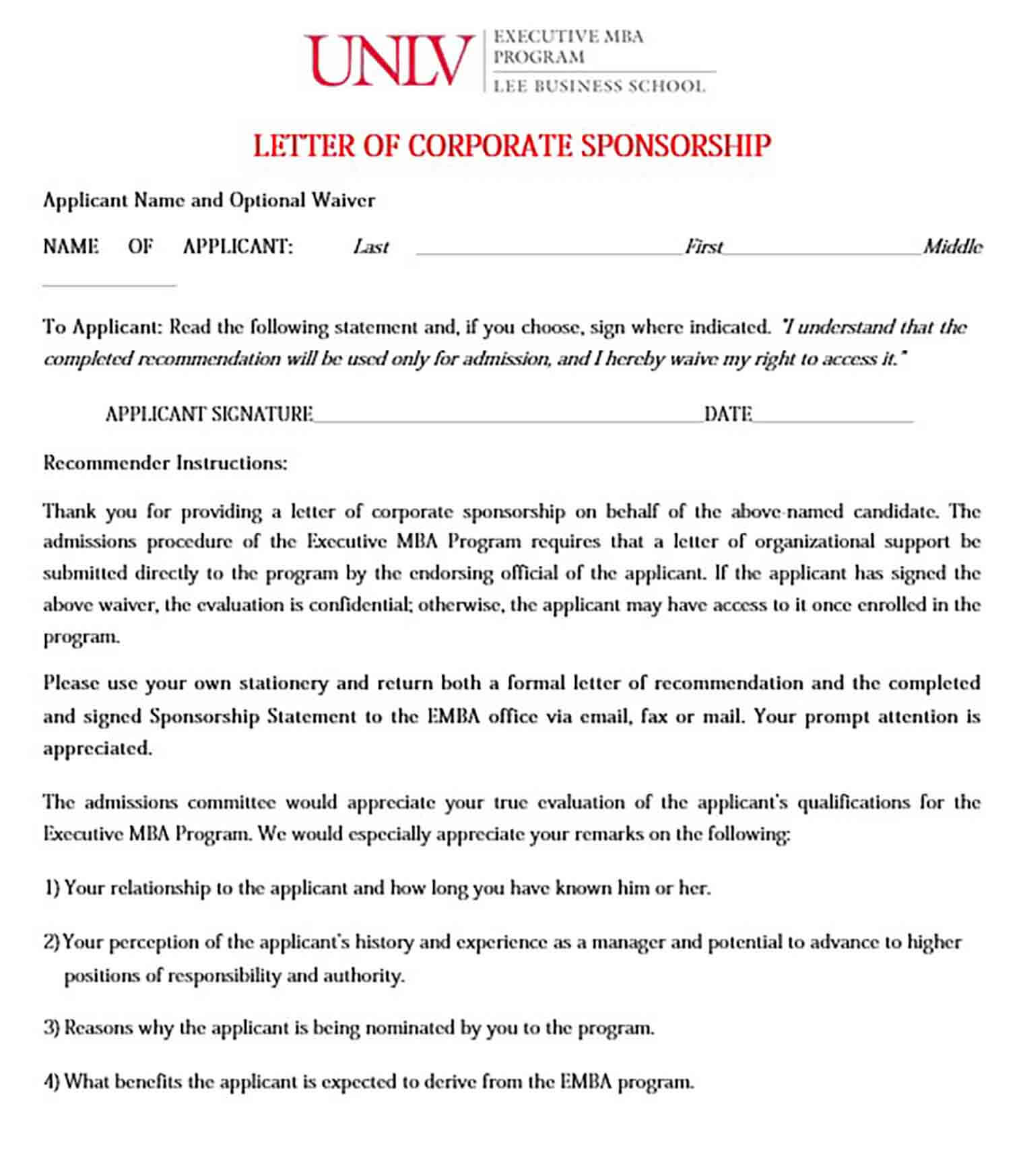 Corporate Sponsorship Letter Form