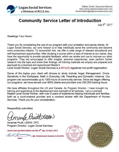 Court Community Service Letter