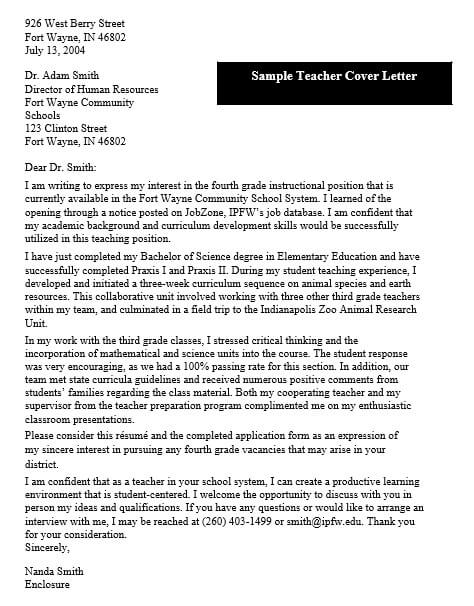 Cover Letter of Intent For University Teacher