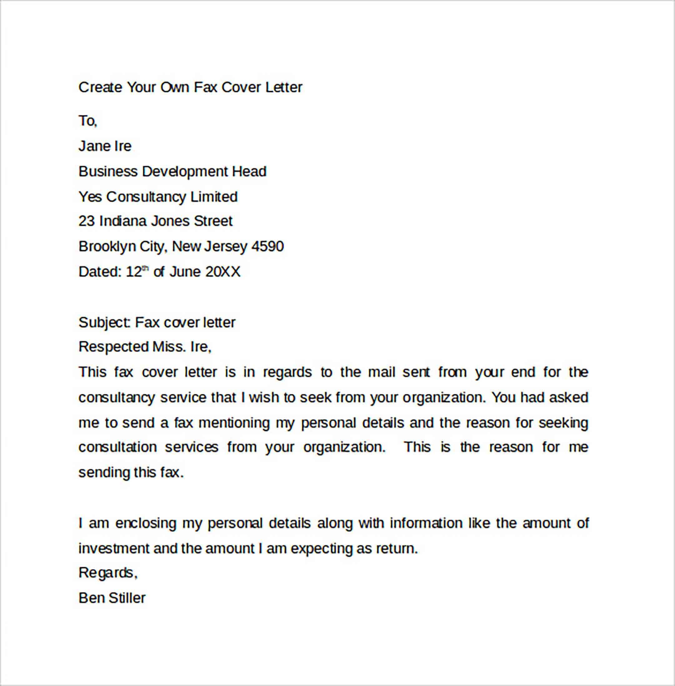 Create Your Own Fax Cover Letter