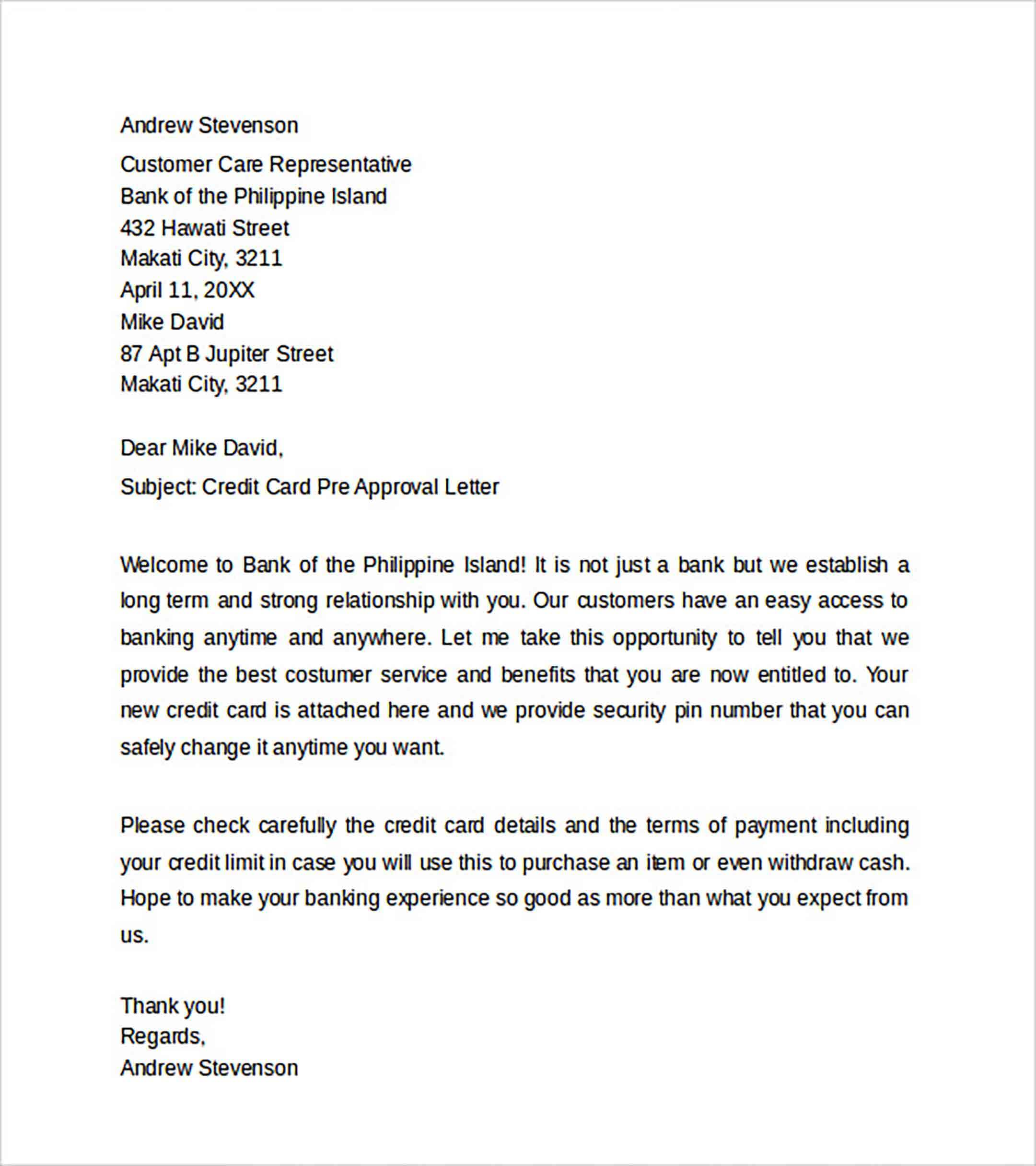 Credit Card Pre Approval Letter