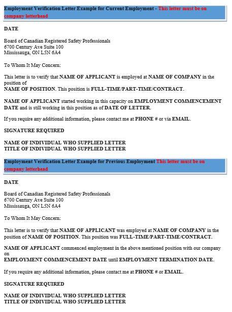 Current Employment Verification Letter