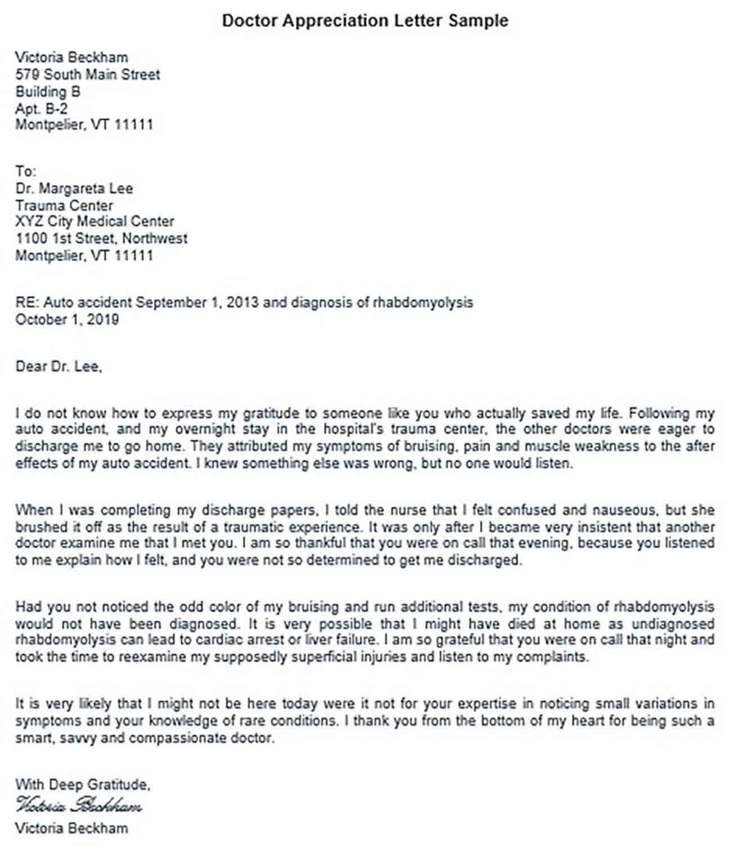 Doctor Appreciation Letter Sample