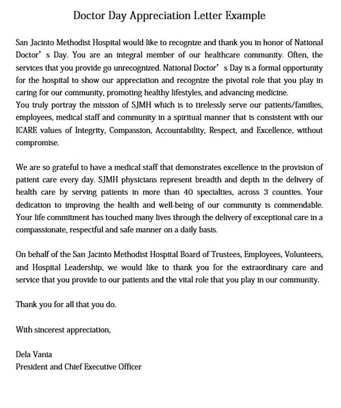 Doctor Day Appreciation Letter Example