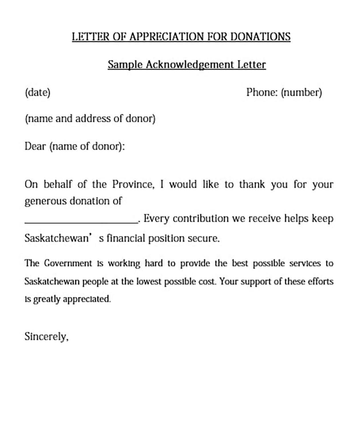 Donation Appriciation Thank You Letter