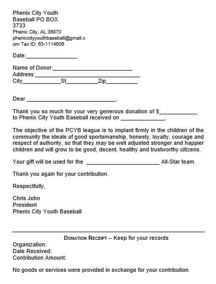 Donation Thank You Letter From Baseball