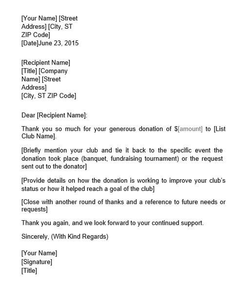 Donation Thank You Letter to Company