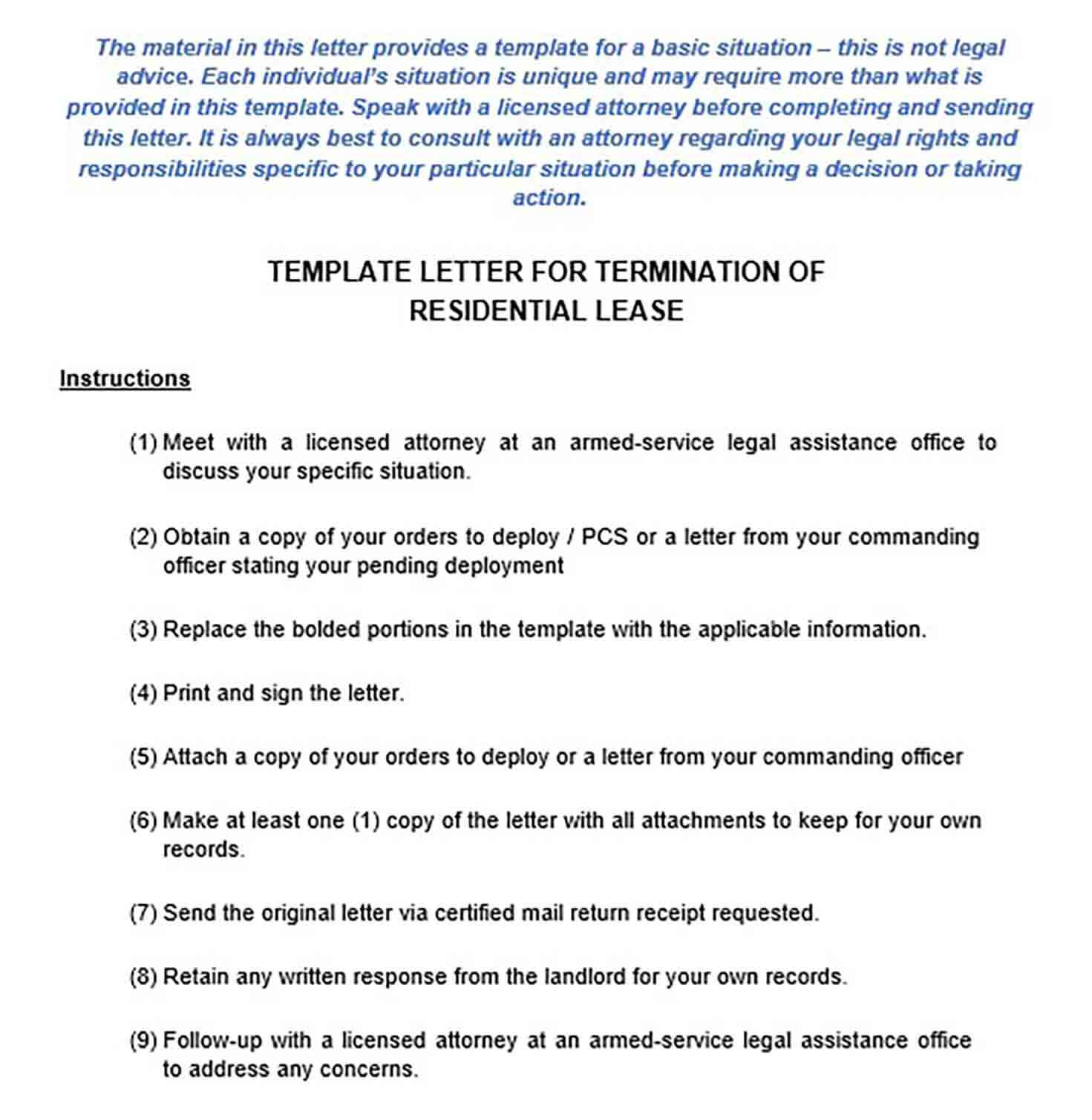 Early Lease Termination Letter Example