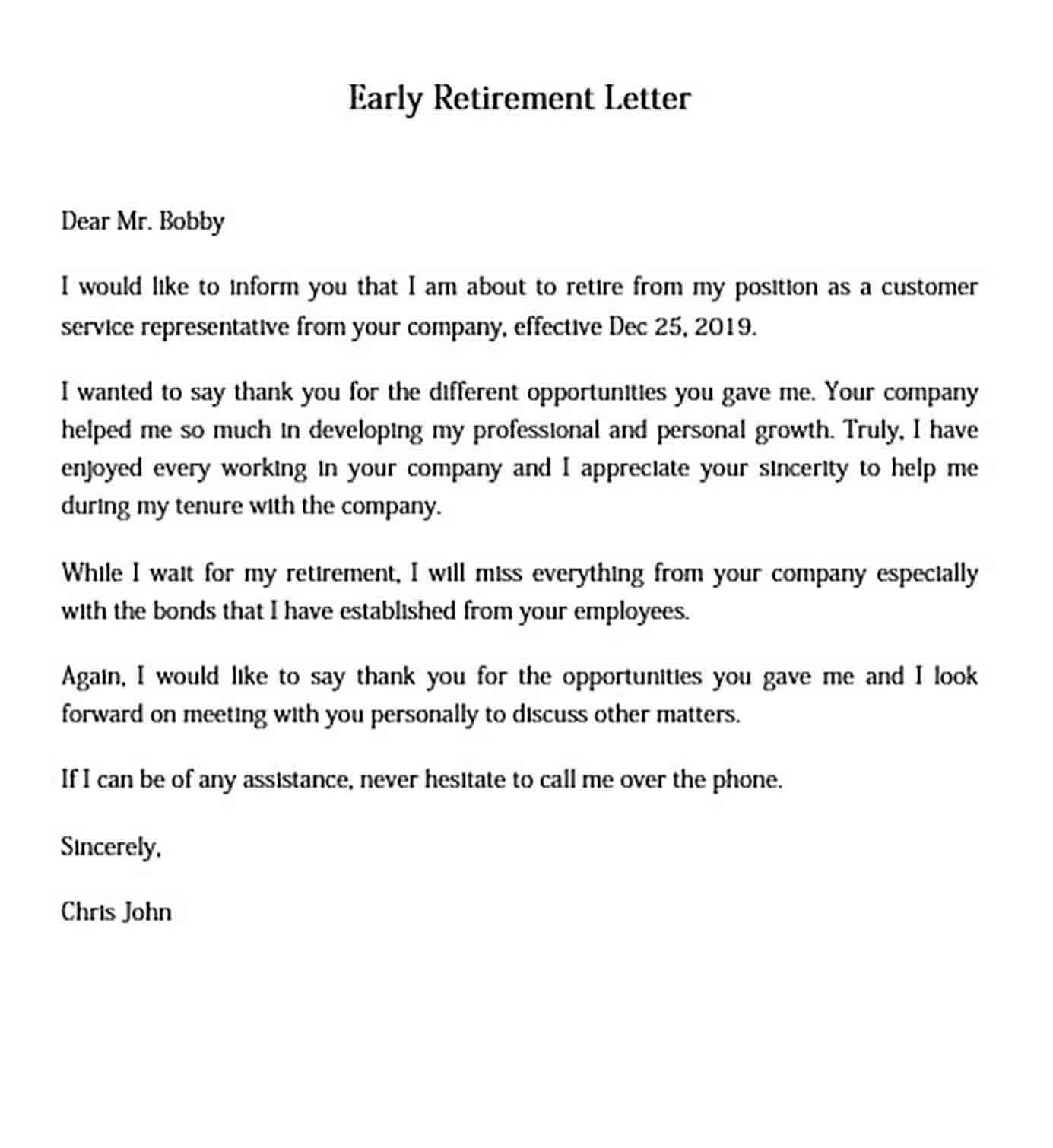Early Retirement Letter