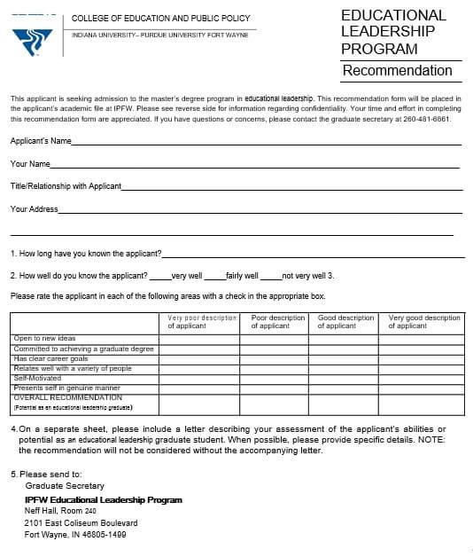 Education Leadership Recomendation Letter
