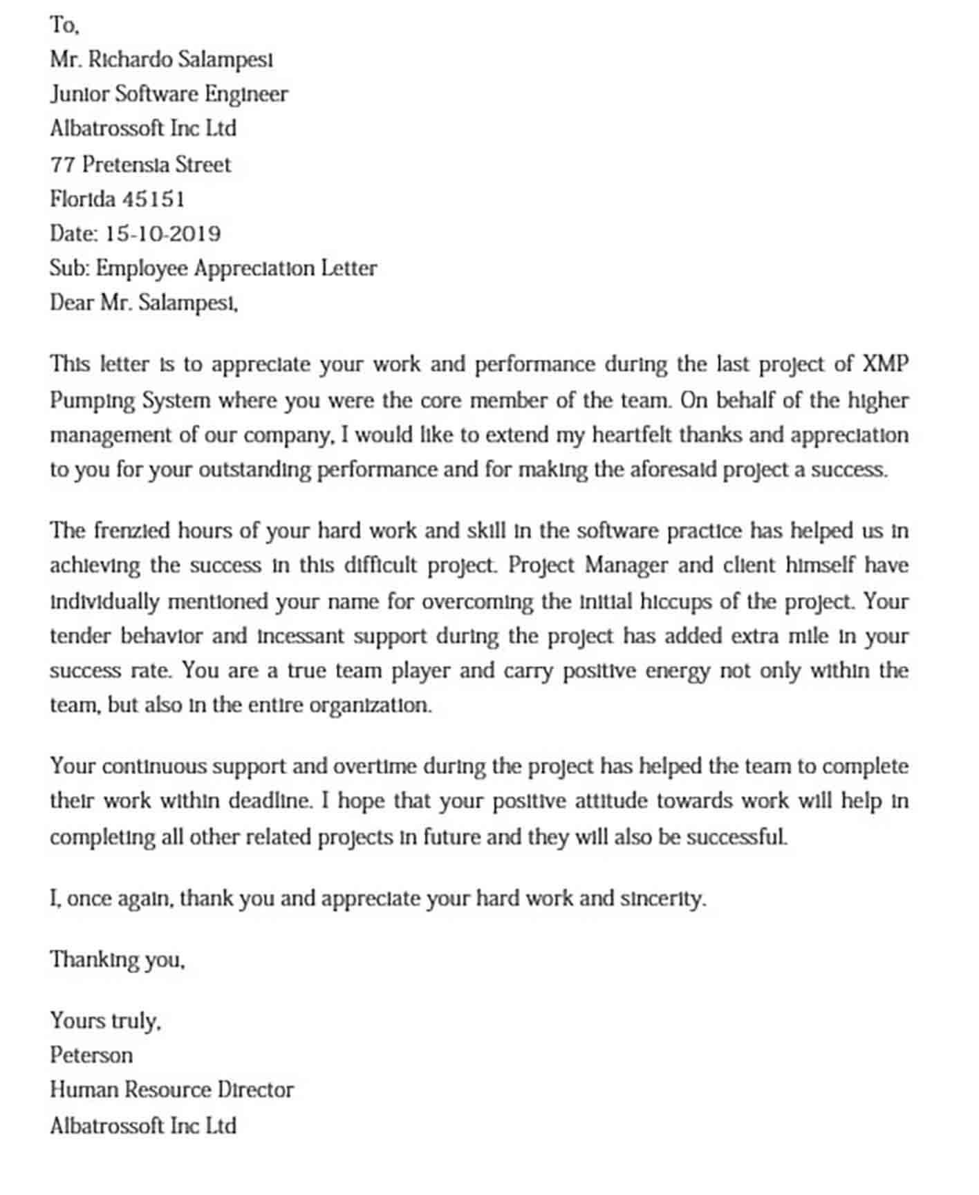 Employee Appreciation Letter Format DOC