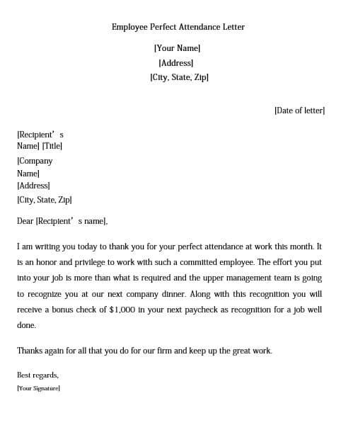Employee Attendance Appreciation Letter