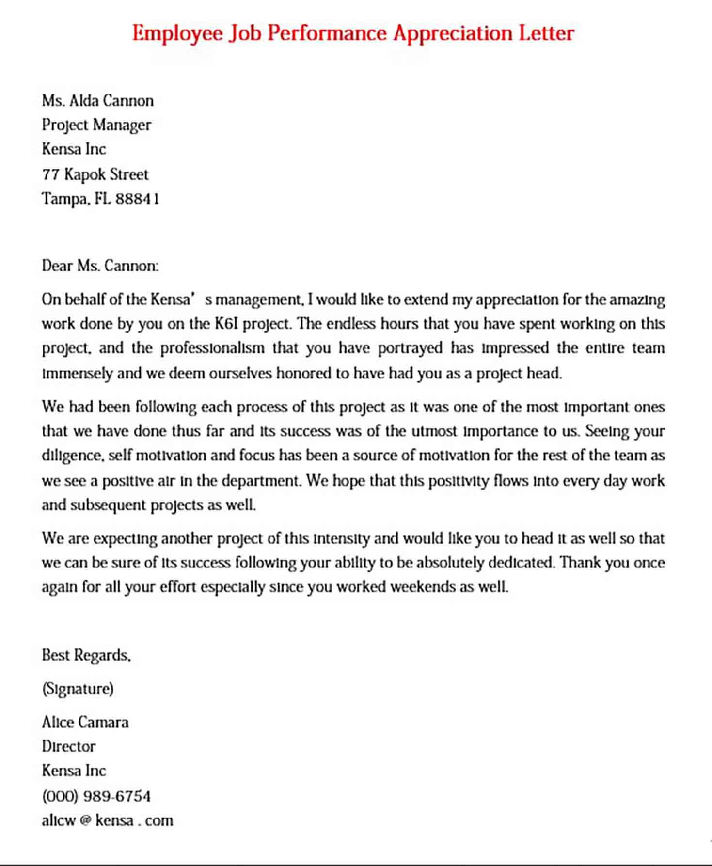 Employee Job Performance Appreciation Letter
