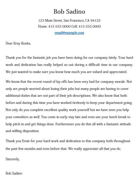 Employee Performance Appreciation Letter