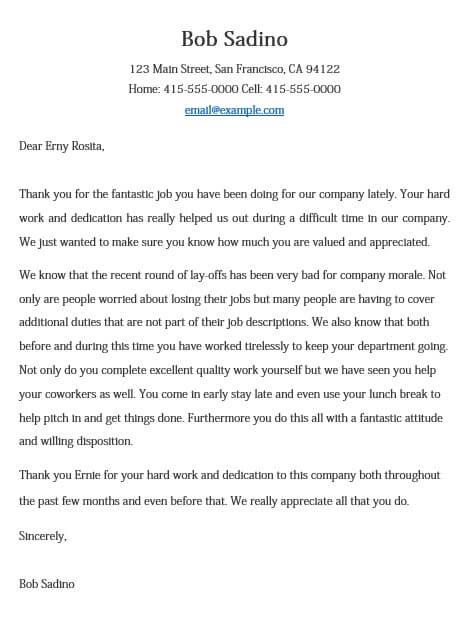 Employee Performance Appreciation Letter