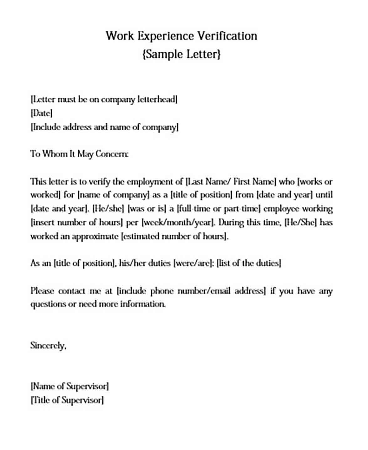 Employee Work Verification Letter